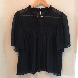 Zara Plumetis Black Blouse